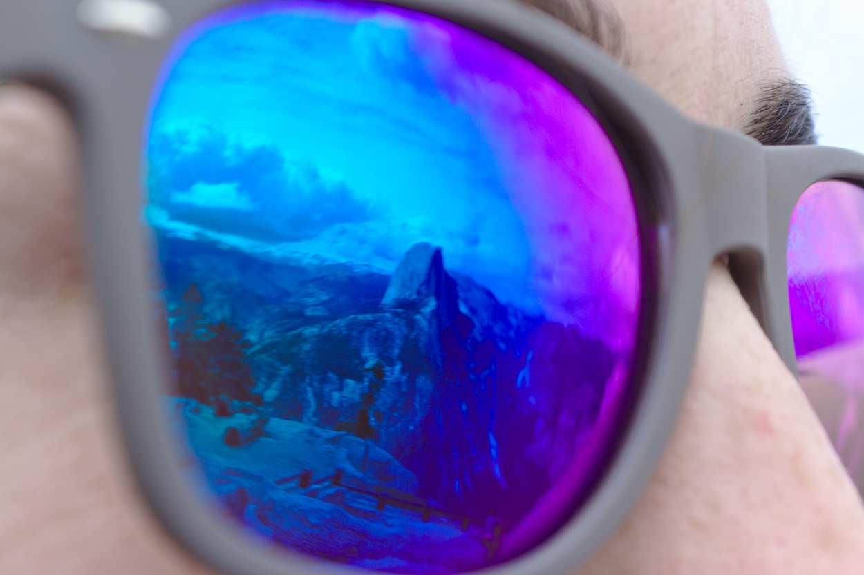 reflet du Half Dome à Yosemite dans mes lunettes