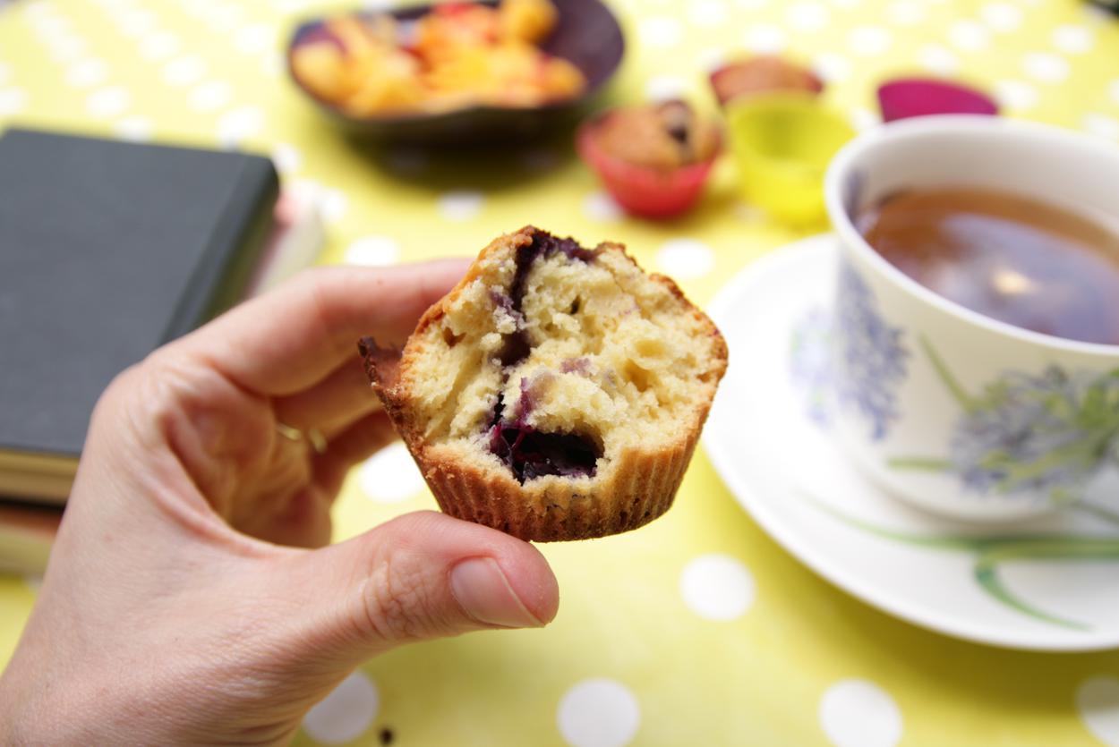 Muffin, thé et journal