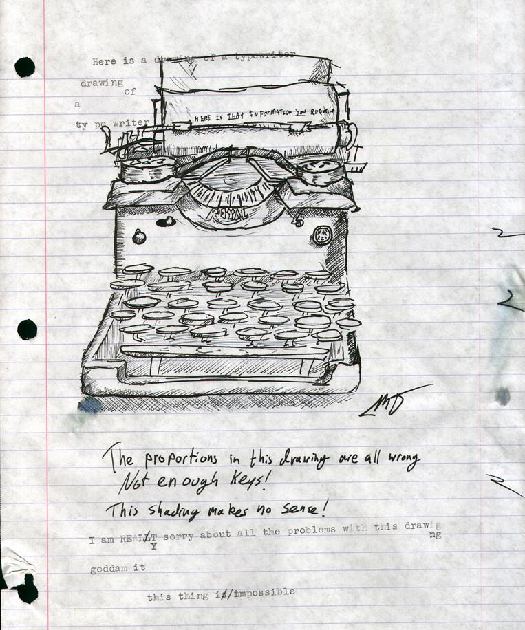 Dessin de machine à écrire Miles Donovan